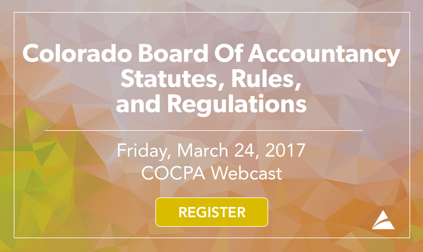Colorado Board Of Accountancy Statutes, Rules, and Regulations