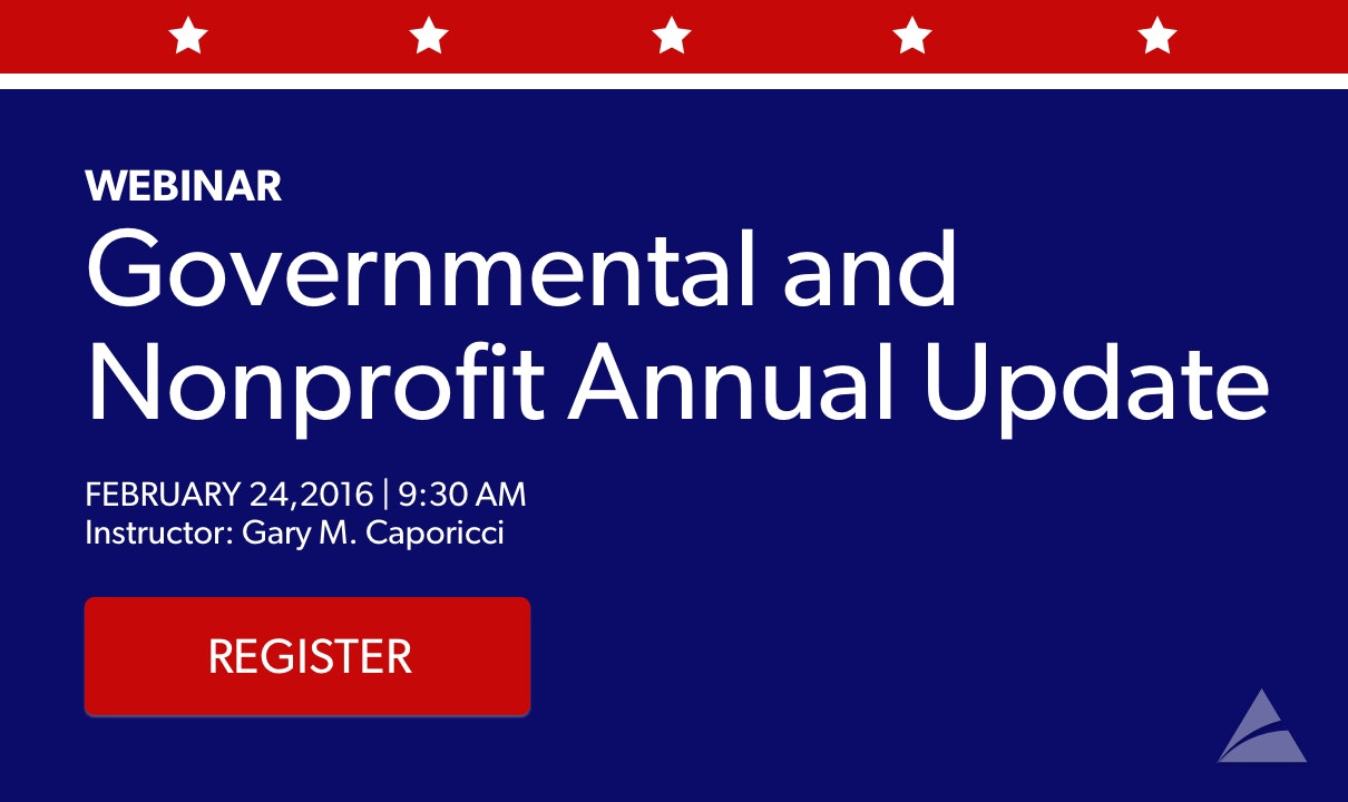 Governmental and Nonprofit Annual Update Webinar