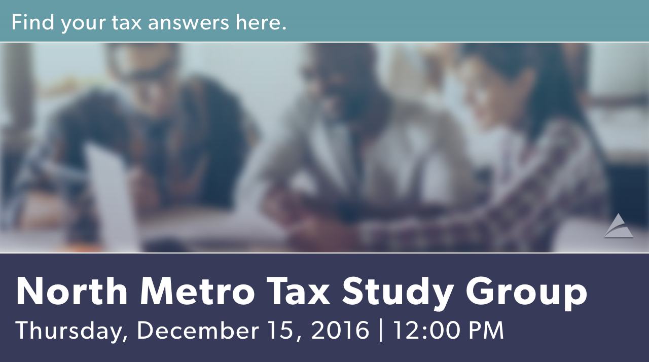 North Metro Tax Study Group - December Meeting