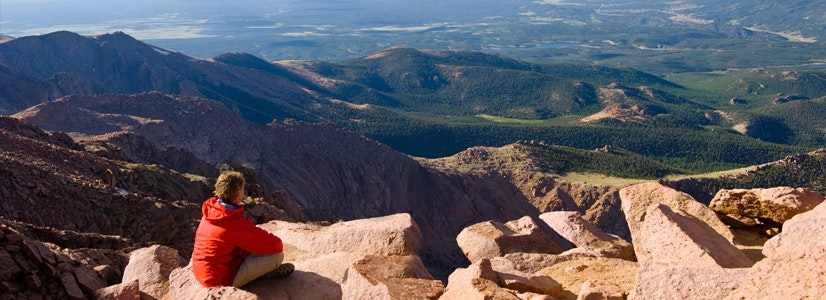 View from the summit of Pikes Peak, Colorado Springs, Colorado